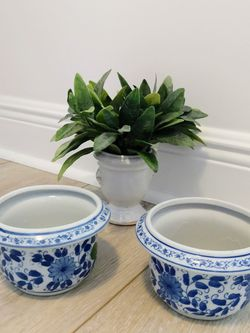 Blue And White Chinoiserie Ceramic Flower Pots / Cachepot for Sale in West Palm Beach,  FL