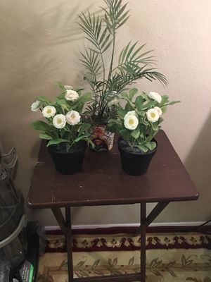 Foldable old table and two Ikea fake plants for Sale in Beaverton, OR