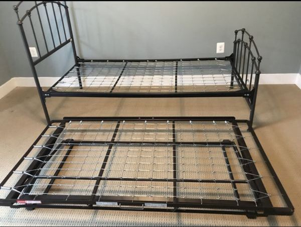 Twin Trundle Bed w/t Option For King Bed Mattress Included