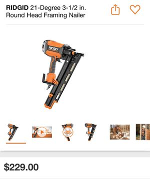 RIDGID 21-Degree 3-1/2 in. Round Head Framing Nailer NEW!! Air tool nail gun for Sale in San Diego, CA