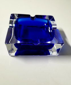 J G DURAND France Double Cased Cobalt Blue Crystal Glass Ashtray Cigarette . New for Sale in Fort Lauderdale,  FL