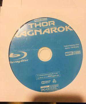 NEVER USED Thor Ragnarok Blu-ray Disc ONLY for Sale in Charlotte, NC