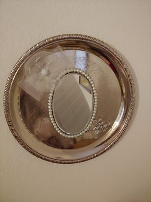 Silver plated wall decoration with mirror. Or jewelry tray for Sale in Austin, TX