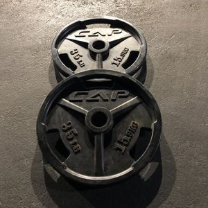 "2 x 35 lbs Weights - Olympic 2"" CAP Weight Plates - 70 lbs total for Sale in Los Angeles, CA"