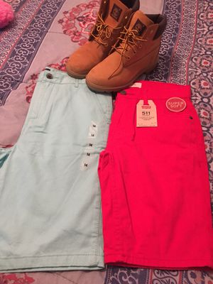 Brand new shorts never worn $10 each. Size 5 kids Timberlands last year barely worn will sell for $40 will also include shoe cleaning spray for Sale in Baltimore, MD
