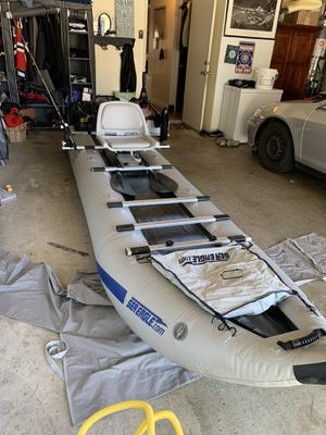 Sea Eagle 435 inflatable boat with Trolling motor! for Sale in Modesto, CA