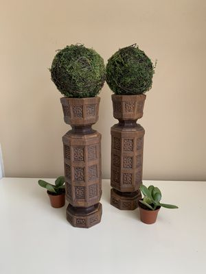 Mid Century Modern Ceramic Fake Wooden Pair of Candlestick Holder Plant Holder Boho Decor Bohemian C for Sale in Grand Rapids, MI