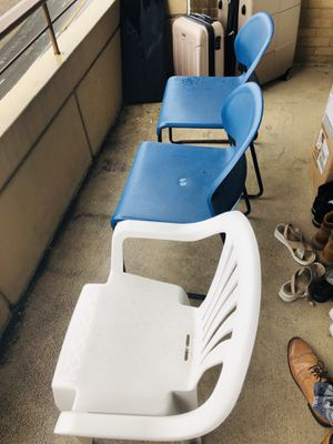 2 metal and 1 plastic chair for Sale in Arlington, VA