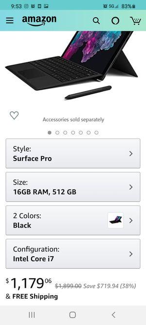 Microsoft surface pro 512gb i7 processor 16gb for Sale in Orange, CA