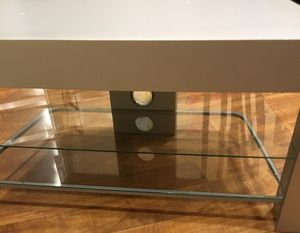 Tv media console stand table grey gray wood glass shelves for Sale in Chicago, IL