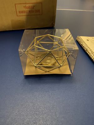 Gold wire geometric tea candle holder for Sale in Tampa, FL