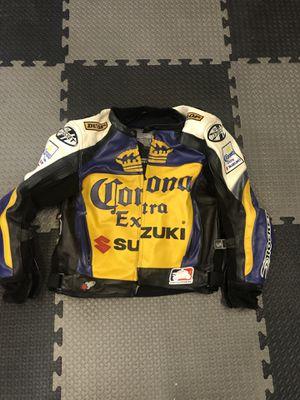 Vintage Suzuki Replica Corona Leather Motorcycle Jacket size 44 for Sale in Chula Vista, CA
