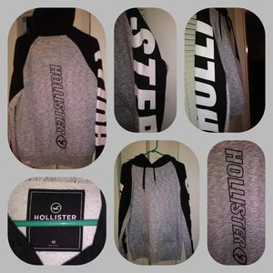 women hollister hoodie with hollister on the sleeve grey black and white size m $40 for Sale in Clementon, NJ