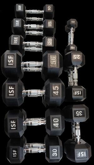 Dumbbells NEW Rubber Hex 5-50,55-75,and 5-75 lb sets for Sale in Bellmawr, NJ