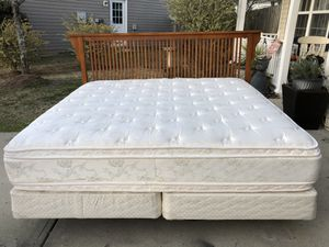 King Bed withMission Style Headboard, Mattress, boxsprings and rail. Very good condition. Delivery available. Hablar espanol for Sale in Raleigh, NC