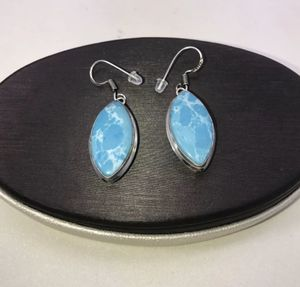 Natural lovely Larimar large diamond shaped stones & .925 stamped sterling silver dangle hook earrings NEW! for Sale in Carrollton, TX