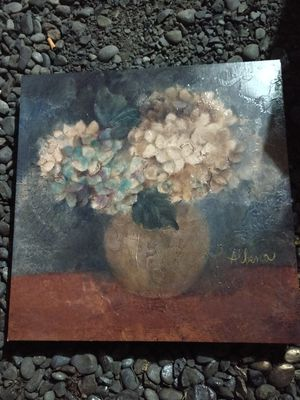 Hydrangea Flowers in a Vase Glazed Painting - Wrapped Canvas Wall Art for Sale in Beaverton, OR