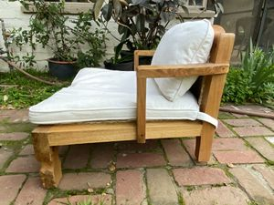 Carved flower motif hand made modern low arm chair teak patio lounge seat ball claw foot for Sale in Claremont, CA