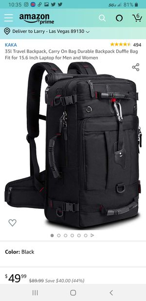 KAKA Travel Backpack, Carry On Bag Durable Backpack Duffle Bag Fit for 15.6 Inch Laptop for Men and Women for Sale in Las Vegas, NV