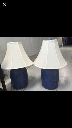 2 large blue ceramic jug lamps for Sale in Wakefield, MA