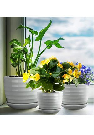 Encheng Round Modern Ceramic Garden Flower Pots Small to Medium Sized,White Planter Pots with Drainage,Succulent Planter Pots with Saucers 3 Pack for Sale in Mesquite, TX