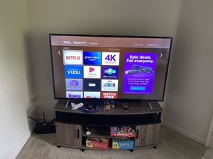 55 inch 4K Roku TV with table for Sale in Redmond, WA