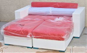 White Outdoor Wicker Patio Furniture Daybed Sofa Set With Orange Cushions for Sale in Las Vegas, NV