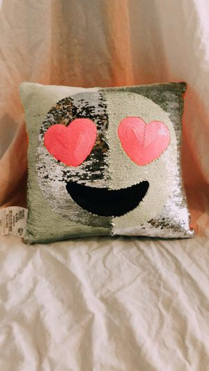 Justice Heart Eye Emoji Flip Sequin Pillow for Sale in Sioux Falls, SD
