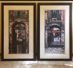 Parisian Cafe Pictures - Set of Two for Sale in Lake Oswego, OR
