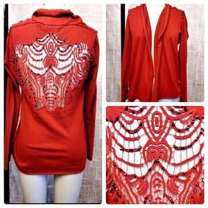 Red Punk Goth Cardigan W/ Embroidered Cutout Open Back & Spikes for Sale in West Valley City, UT