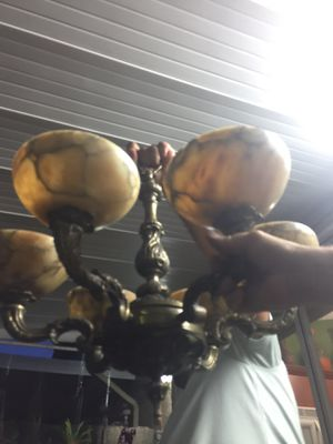 Bronze and alabaster chandelier. for Sale in Miami, FL