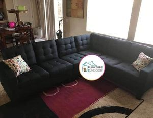 New Black Fabric Reversible Sofa Sectional Couch - Financing Available for Sale in Moreno Valley, CA