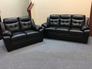 Black Leather Like Sofa and Love Seat Removable Backs New in the plastic for Sale in Feasterville-Trevose, PA