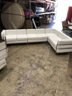 4 Piece White Leather Sectional for Sale in Gaithersburg, MD