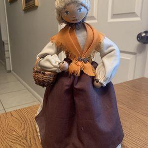 11.5 Folk Art Wood Head Vintage Doll Braided Hair Needlepoint Dress W Basket for Sale in Chandler, AZ