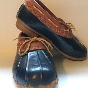 EDDIE BAUER Blue & Tan Rubber/Leather Duck Rain Boots Shoes Waterproof Women's 9M for Sale in Lake Stevens, WA