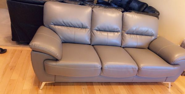 3 Month Old Grey Leather Couch Rarely Used 1200 Cash