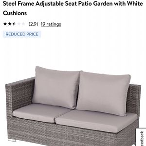Costway 1PCS Rattan Wicker Sofa Furniture Set Steel Frame Adjustable Seat Patio Garden with White Cushions for Sale in Bakersfield, CA