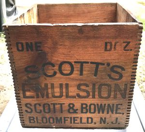 Antique Scott's Emulsion wooden shipping crate for Sale in Ponte Vedra Beach, FL