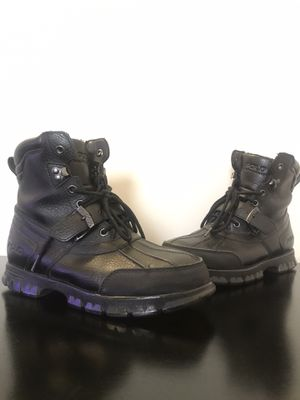 Polo Ralph Lauren Country Boot II Black Pebble Grain Leather Size 8.5 for Sale in Upper Marlboro, MD
