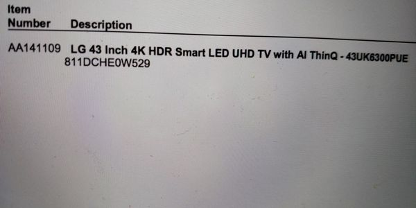 Lg 43inch 4kHDR smart led uhd tv with AI thinQ