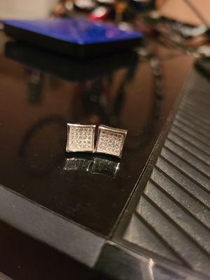 925 (marked) sterling silver diamond or CZ earrings for Sale in Seattle, WA