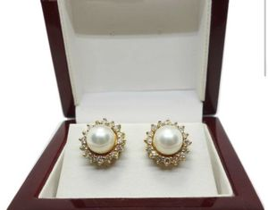 Pair of 14k gold diamond halo 8MM round solitaire Akoya pearl earrings for Sale in Boston, MA