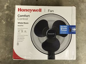 Honeywell Oscillating Stand Fan with Double Blades Black for Sale in Fort Mill, SC