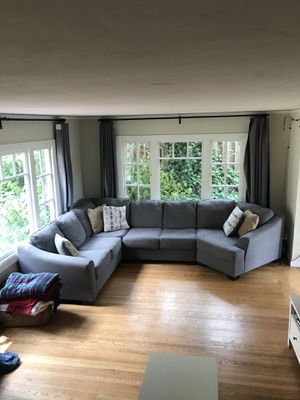 LIVING SPACES Large Grey Sectional Couch with Nook for Sale in Oakland, CA