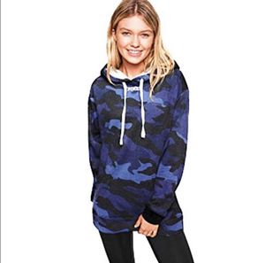 VS Pink Hoodie Pullover Sherpa Blue Camo Large for Sale in North Olmsted, OH