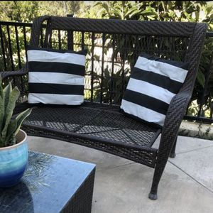 Outdoor patio furniture high quality wicker weather proof bench with cushions No rips on the cushions only they're very dirty needs wash for Sale in Solana Beach, CA