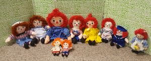 Vintage collectible Raggedy Ann and Andy plush dolls for Sale in Tremont, IL