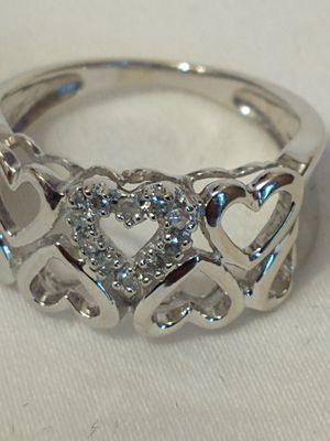 10K White Gold Open Heart Diamond Ladies Band Ring for Sale in Costa Mesa, CA