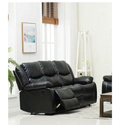 """(NEW)Container Furniture Direct Royal Albert Faux Leather Upholstered Gliding Reclining Set with 81"""" Sofa Chair, Black for Sale in Columbus,  OH"""